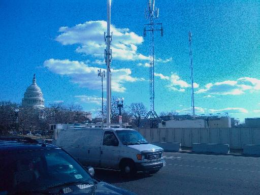 the east end of the mall with temporary cell towers